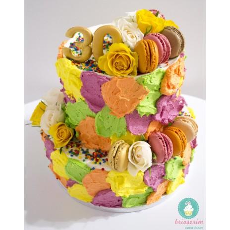 Tort Patchwork cu flori naturale